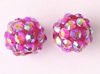 10 Shamballa beads 12mm Pink AB Resin Rhinestone Beads